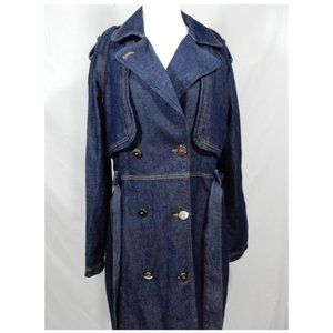 MANGO MNG Denim Double Breasted Trench Coat